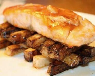 Glasierter Lachs mit Rettichpommes