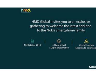 HMD Global: Neues Nokia-Smartphone wird am 4. Oktober 2018 vorgestellt