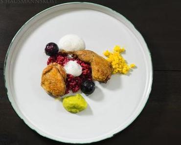 Wachtel, Weintrauben, Beten und Gerste