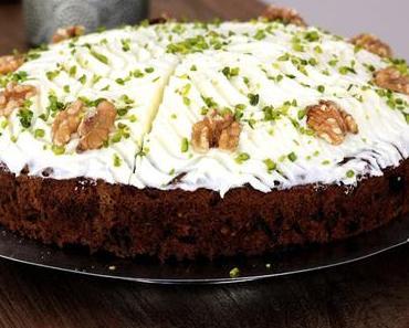 Unser Lieblingsrezept im Herbst - Möhre-Walnuss-Torte mit Frischkäse-Topping