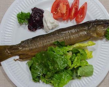 Freitagsfisch: Geräucherter Saibling mit Preiselbeeren, Meerrettich und Salat