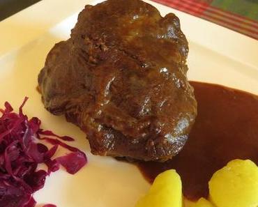 Rinderbäckchen in Port-/Rotweinsauce mit Schokolade