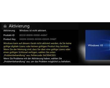 Aktuelle Aktivierungsprobleme mit Windows 10 Pro