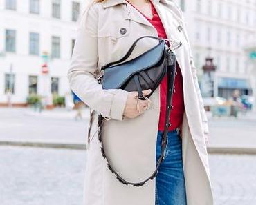Die Dior Saddle Bag is back! Mit Trenchcoat und Crossbody Riemen