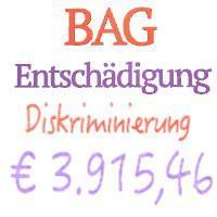 BAG:  € 3.915,46 Entschädigung von kirchlicher Einrichtung aufgrund Benachteiligung wegen der Religion !