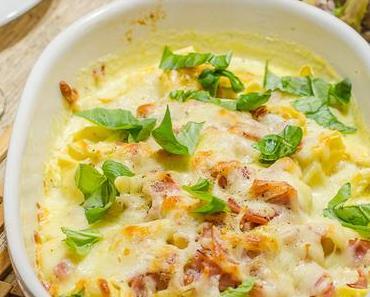 Mein Mann kann: Tortellini mit Schinken-Sahne-Sauce, gratiniert