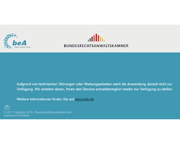 beA - Fehlermeldungen als Standard