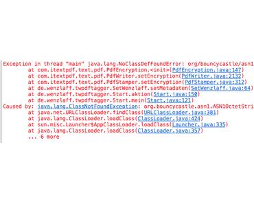 Was kann man gegen eine NoClassDefFoundError (org/bouncycastel.asn1.ASN10ctetString) beim verschlüsseln mit iText tun?
