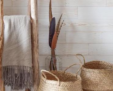 Körbe aus Seegras und Jute