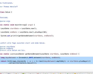 Java-Zweizeiler: Wie können alle Tage eines Zeitraumes mit Java 8 ausgegeben werden?