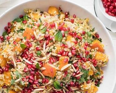 Ingwer Chili Kürbis im Ofen geröstet mit Bulgur-Salat