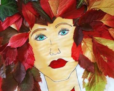 Herbstgöttin basteln – ein Blättterbild mit Kindern gestalten