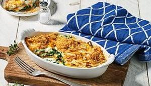 Spinat-Kürbis Lasagne Schafskäse