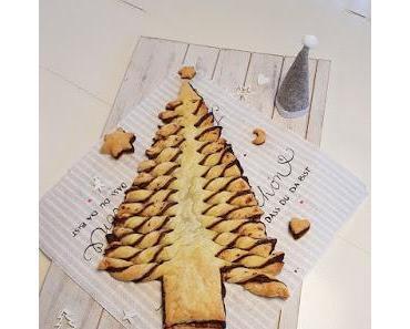 Blätterteig-Tannenbaum mit Nuss-Nougat-Creme