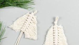 Mini-Tannenbaum: Weihnachtsschmuck Makramee