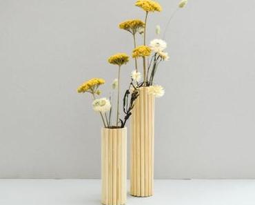 Upcycling leicht gemacht: DIY Holzvase aus Halbrundstäbe
