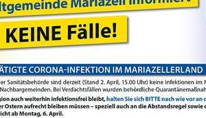 Coronavirus (COVID-19) Stadtgemeinde Mariazell Neueste Infos 02.04.2020