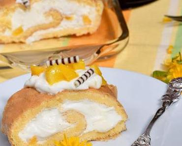 Mango-Biskuitrolle mit Joghurt [Zum Muttertag]