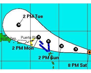 EARL bedroht (wahrscheinlich als Hurrikan) Karibische Inseln nahe Puerto Rico - DANIELLE zieht an Bermuda vorbei