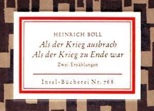 Heinrich Böll – Als der Krieg zu Ende war. Eine Erzählung, die kennen sollte, wer sich für Seife interessiert.