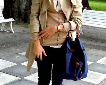 Outfit des Tages: Kaschmirjacke und Kurzarmbluse