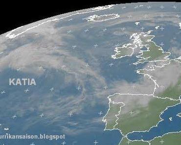 Welcher Satellit sieht KATIA live nach Europa kommen?