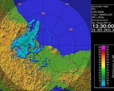 Tropischer Sturm NATE: Satellitenbild, Doppler-Radar und Live-Webcam Veracruz zeigen - Alles halb so schlimm.