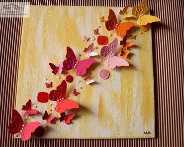 Schmetterlingsschwarm auf Malpappe - Kinderworkshop...