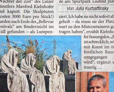 """Panne! """"Kunst-Geister""""vom Künstler Kielnhofer einfach weggeworfen. Kulturveranstalter Liva Linz"""
