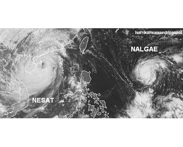 Taifun NESAT fast am Ziel (Hainan & Vietnam) - Tropischer Sturm NALGAE fast Taifun (Hurrikan) und unterwegs zu den Philippinen