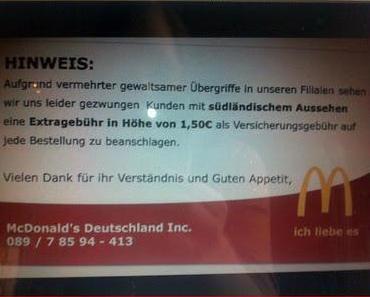 """McDonalds verlangt Sonderzahlung von """"Südländern"""" und stellt dabei alle unter Generalverdacht"""