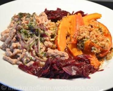 Kastanienspätzle mit Rotkraut und Kürbisschnitzen