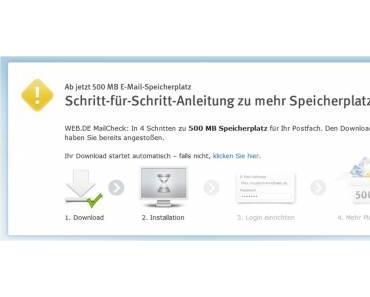 web.de Speichererweiterung – Goldesel mit großer Geste