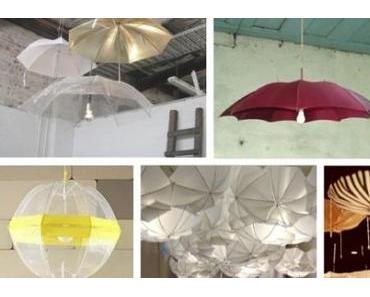 Regenschirme werden zu Lampen