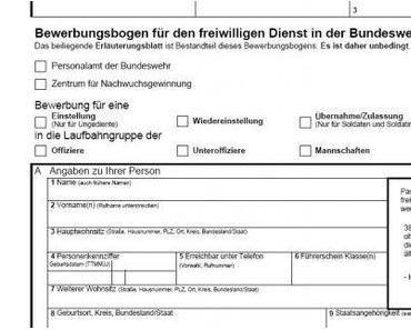 Ding des Monats: Bundeswehrbewerbungsbogen
