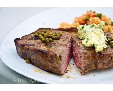 Grillen und Grillieren (1) – Steak No 1 mit Kräuterbutter und grünem Pfeffer