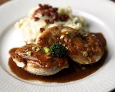 Bourbon Chicken and Mashed Potatoes with Bacon