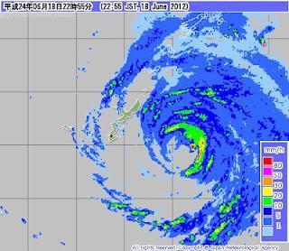 Radarbild: Taifun GUCHOL (BUTCHOY) jetzt bei Okinawa, Japan