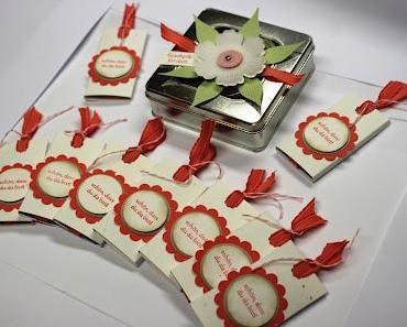 Gastgeschenke mit Schokoladen Ziehverpackung :-)