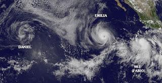 DANIEL kein Tropischer Sturm mehr, EMILIA Hurrikan Kategorie 2, Benennung FABIO wahrscheinlich morgen