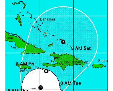 Tropensturm / Hurrikan TOMAS dreht wahrscheinlich bald nach Norden: Jamaika, Haiti, Dominikanische Republik und Ostkuba in Gefahr