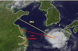 Taifun DAMREY zwischen Japan, Korea und China - Schanghai wird unwahrscheinlicher