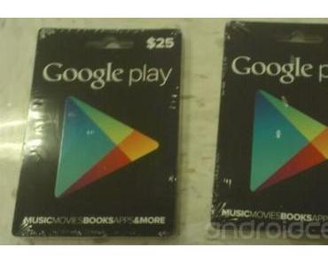 Google Play Store: Guthabenkarten gesichtet