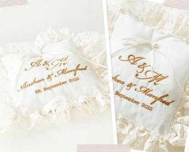 Hochzeits-Eilauftrag: Besticktes Ringkissen mit Spitze