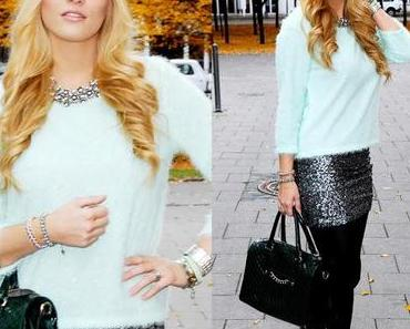Thursday to go: sequin skirt and fluffy mint