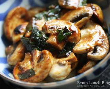 Rezept: Gebratene Miso-Champigons mit Frühlingszwiebeln