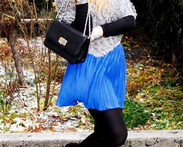 Monday to go: fur poncho and studded heels