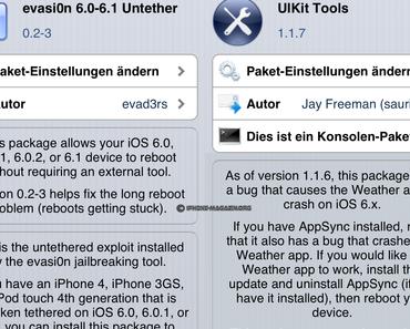 Evasi0n 6.0-6.1 Untether 0.2-3 und UIKit Tools 1.1.7 in Cydia veröffentlicht, beheben Probleme mit Wetter-App und Bootschleife