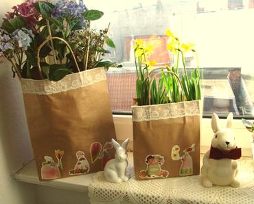 Paper bag flower pots