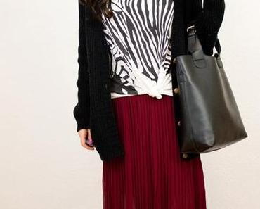 Outfit: Zabra Print Shirt meets High Low Skirt